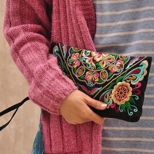 Embroidered wristlet wallet clutch bohemian vibes